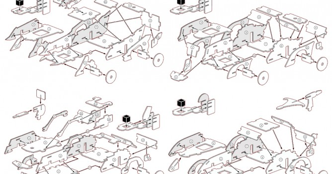 Technical illustrations showing how the components are assembled