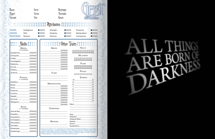 Geist Character Sheet and World of Darkness Ad